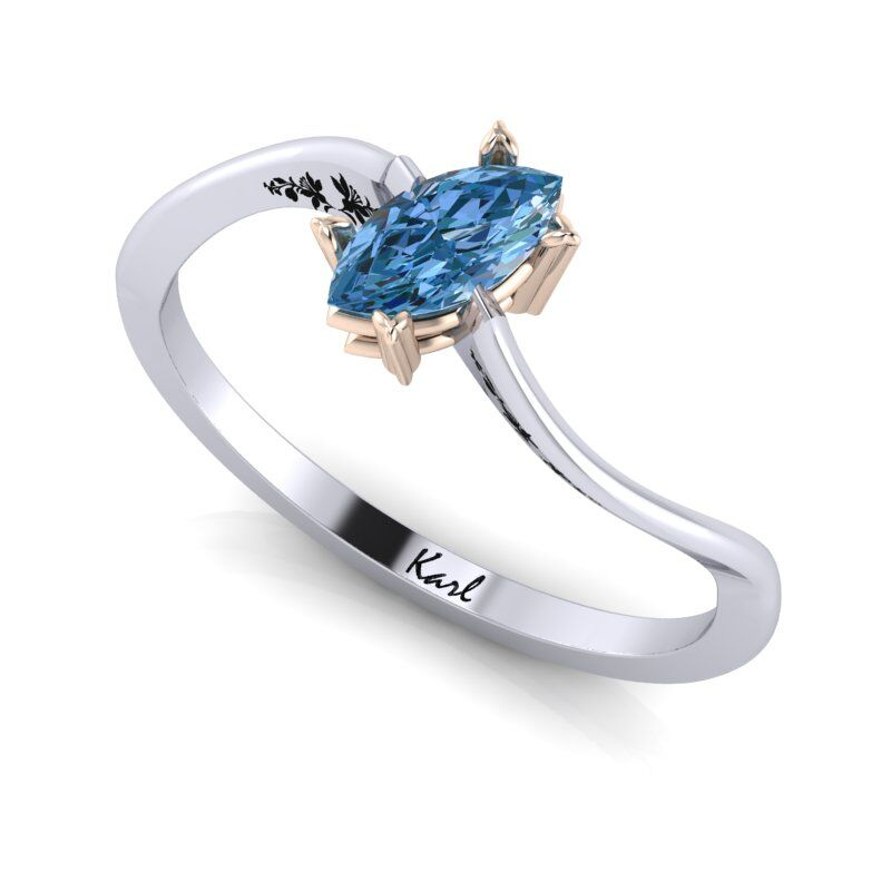 01e93c1ae2 18-karat rose gold Tiered mount; Marquise Blue stone engagement ring